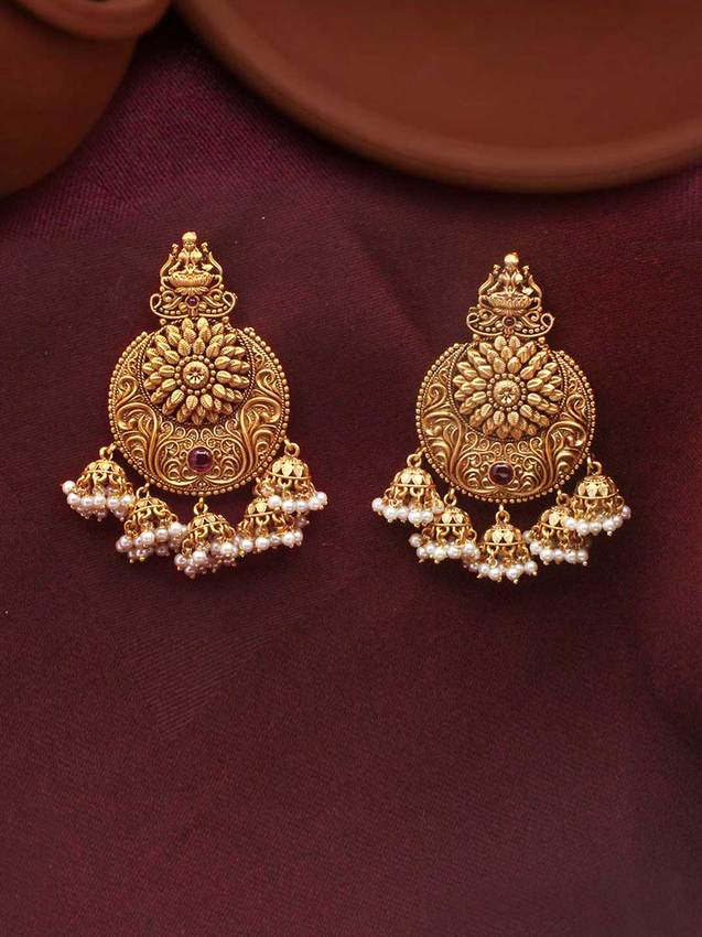 Copy of Antique Gold Goddess Laxmi Earrings With Pearl Bead Hanging