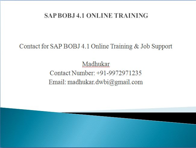 SAP BO Dashboard Training  Online