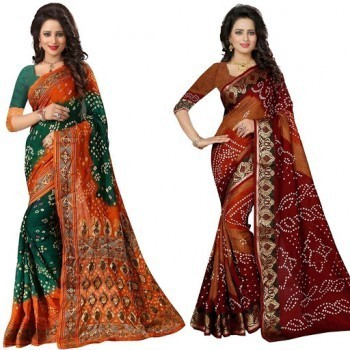 Big Discounts & Offers on Online Bandhani Sarees at IndiaRush