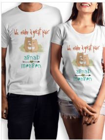 Buy Customised  and  Matching Couple T Shirts Online